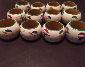 Snowman Christmas Holiday Wooden Napkin Rings - Set of 12