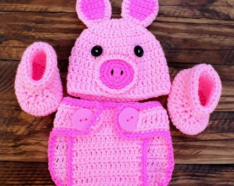 Crochet Infant Pig Set - Hat, Diaper Cover, Booties - Size 0-3 months