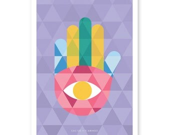 Geometric Hamsa (printable poster)