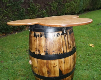 The Heather. 3 Leaf Clover Wine Barrel Table