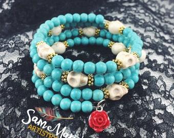 Turquoise Sugar Skull Memory Wire Bracelet