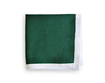 Frederick Thomas knitted dark green with white edging pocket square with white edging FT3166