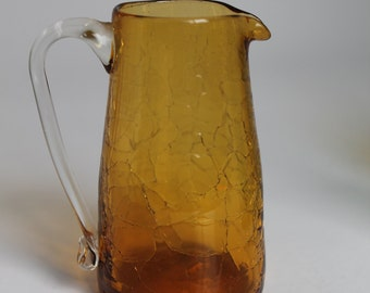 Amber Crackle Glass, Miniature Pitcher, Individual Creamer, Hand Blown Collectable Glass