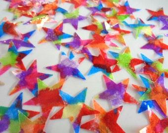 Rainbow Star Confetti, Multicolored Star Confetti, Star Decorations, Rainbow Birthday, Rainbow Wedding, Teen Confetti, Birthday Confetti