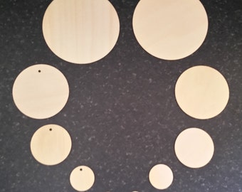 10 Pack of Wooden Circle Shapes 2cm to 10cm