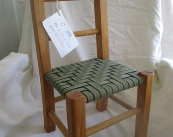 "C-105 Small Chair  with green shaker tape weaved seat. Perfect for young child or doll . Seat is 8"" x 9"" and 17"" tall."