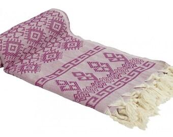 Turkish Kilim Designed Bath & Beach Towel Peshtemal Purple