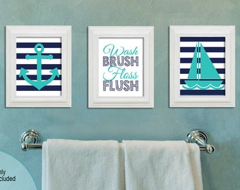 Wash Brush Floss Flush - Nautical Bathroom -  8x10 printable - Turquoise and Navy Blue - Boy or Girl Bathroom Decor - Anchor and Sailboat