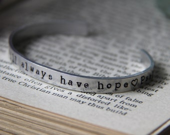 Hand stamped Bible Verse Cuff Bracelet 'But As For Me I Will Always Have Hope' (Free Gift Wrapping)