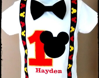 Boy Mickey Mouse Birthday Shirt or Onesie with Detachable Bow Tie, number, mouse APPLIQUE, and Faux suspenders 1st 2nd 3rd 4th 5th