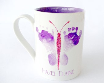 13 oz Baby Footprints Deco Mug- Created Using Baby's Actual Footprints - New Baby Personalized Gift - Baby Status - New Birth Celebration