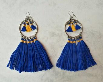Blue earrings, Tassel earrings, Boho chic earrings, Fiber earrings, Statement earrings, Long earrings, Big earrings