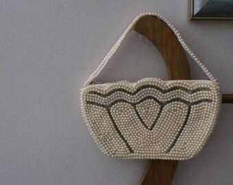 Mini Champagne Faux Pearl Beaded Wedding Purse Mini Evening Bag Vintage 60's Wedding Clutch - BT-388