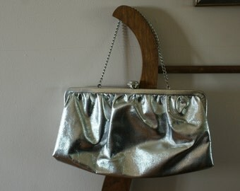 Silver Patent Vintage Evening Bag/Clutch with Button Kiss Closure & Silver Tone Metal Chain Strap Made in USA BT-572