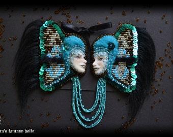 Blue Brooch Anthro Girls-butterflies 2 in 1  Polymer Clay Jewelry