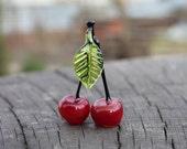 Red Cherries, Lampwork Cherries , Red Glass Cherry, Glass Fruit figurine, Red Cherries Sculpture