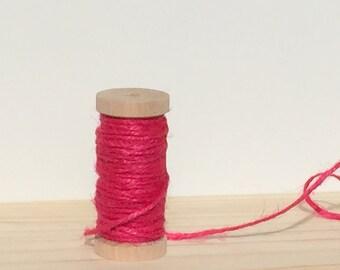 Jute Twine - Bright Hot Pink  - 10 meters