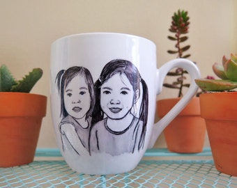 Couple Portrait Mug, Two Portraits coffee mug, Handpainted coffee mug, Couple Mug