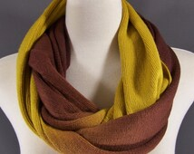 Mustard Yellow Brown ombre long circular infinity endless loop circle super soft scarf
