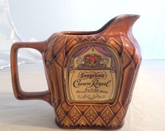 Crown Royal Vintage Bar Pitcher Ceramic Seagrams Barware Canadian Whiskey