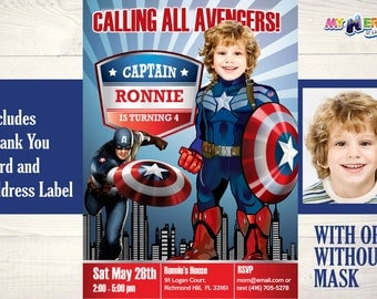 Captain America Birthday Invitation. Captain America is calling all Avengers! Captain America Birthday Ideas. Captain America Party Ideas.