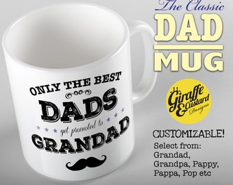 Only the Best Dads get promoted to Grandad, We're having a baby, birth announcement mug, Pregnancy Reveal