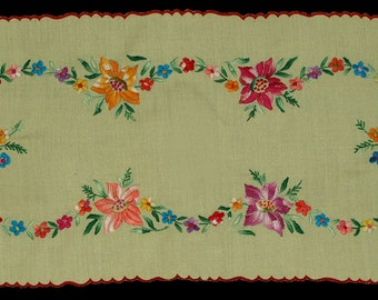 Hungarian Kalocsa Floral Embroidered Yellow Runner Tablecloth from the 80s