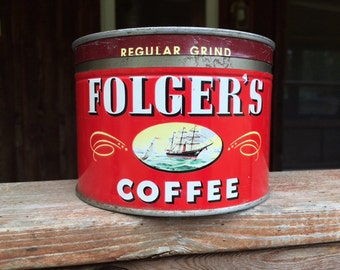 1940's Vintage Folger's Coffee Can