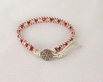 Red and white beaded leather wrap bracelet