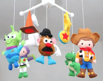 Baby Crib Mobile - Toy Story - Nursery Toy Story Mobile - Woody,Potato Head,Buzz Lightyear,T-Rex, Inspired toy story movie