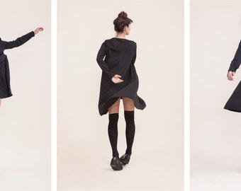 oversize high neck black dress