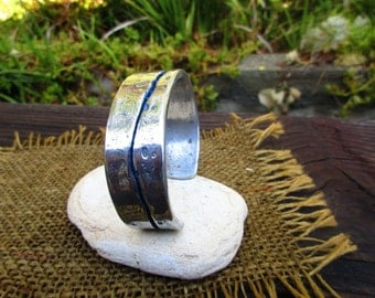 Stream Blue Enameled Silver Cuff Bracelet.  Aluminum Polished.  Signal Blue Lined. 2mm X 15mm Thick and Wide.