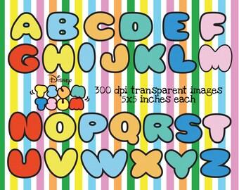 Tsum Tsum Alphabet Clipart ~ 300 dpi transparent ~ 5 x 5 inches ~ DIY Tsum Tsum Birthday Party