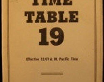 Rare 1958 PACIFIC COAST R.R. CO. Time Table 19