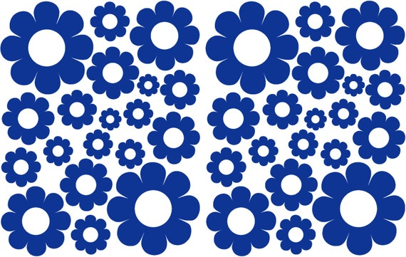 38 Navy Blue Daisy Vinyl Shaped Bedroom Wall Decals Stickers Daisies Teen Kids Baby Nursery Dorm Room Removable Custom Made Easy to Install