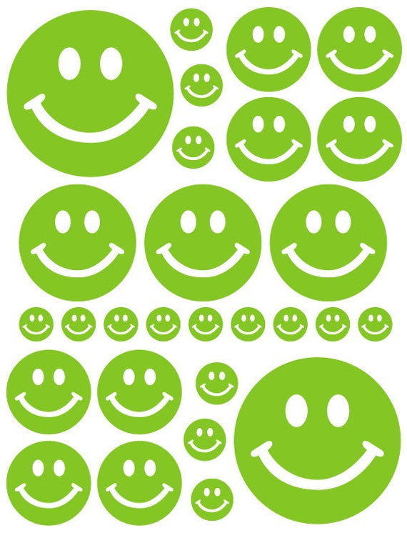 56 Lime Green Smiley Face Vinyl Polka Dots Bedroom Wall Decals Stickers Teen Kids Nursery Dorm Room Removable Custom Made Easy to Install