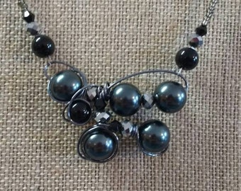 Charcoal and black necklace