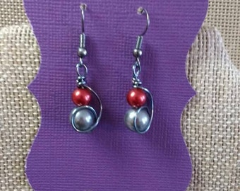 Scarlet and gray earrings