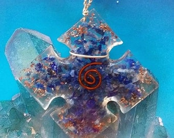 LAPIS LAZULI ORGONE Crystal Pendant with Copper Coil, Celtic Cross, with a Hemp Chain