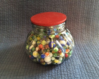 500+ Vintage Glass Marbles and Glass Counter Jar