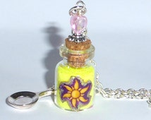 Tangled Rapunzel Bottle Pendant Charm Necklace Sun Flower Frying Pan Gift Wrapped ~ Disney Inspired