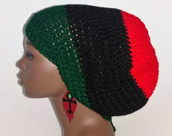 Pan-African Dreadlock Tam Hat Cap, Large Crochet Rasta Tam with Drawstring, Extra Large Slouch Hat, Red Black and Green Dreadlock Tam