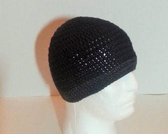 Mens Crochet Beanie, Men's Crochet Hat Two-Toned Black and Gray/Grey, Crochet Beanie Black with Gray Border, Men's Winter Hat