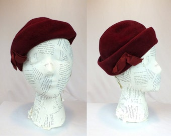 Vintage 1960s Dark Red Rounded Pillbox Hat with Ribbon Jackie O Union Label United Hatters Cap & Millinery Wrks
