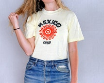 Vintage 80's Mexico Vacation Graphic Tee Made in USA Souvenir Tee / Vintage Destination tee / Yellow Graphic Tee Baja Surf Trip Tee