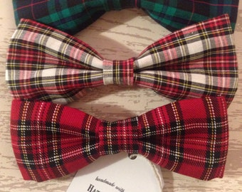 Handmade tartan dog bow ties for large dogs - Pampered Pooch Collection