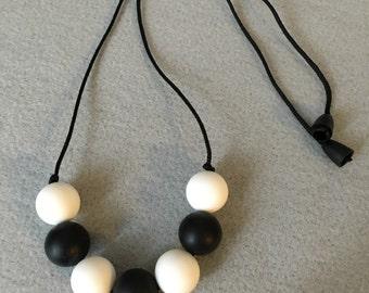 Black & White Teething Necklace, Accessories, Teething Babies