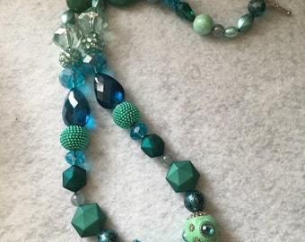 Chunky Beaded Necklace, Handmade