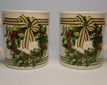 Set of 2 Hallmark Christmas Mugs with Holly & Berries Wreaths, Made in Japan