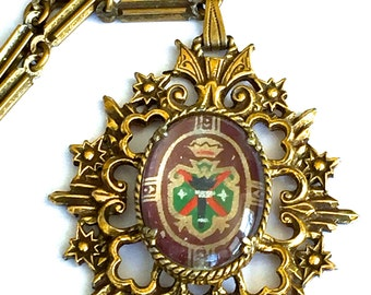 Heraldic Pendant Necklace, Coat Of Arms, Ornate Crest Shield, Gold Tone Medallion Necklace, Vintage Jewelry, Heraldic Jewelry